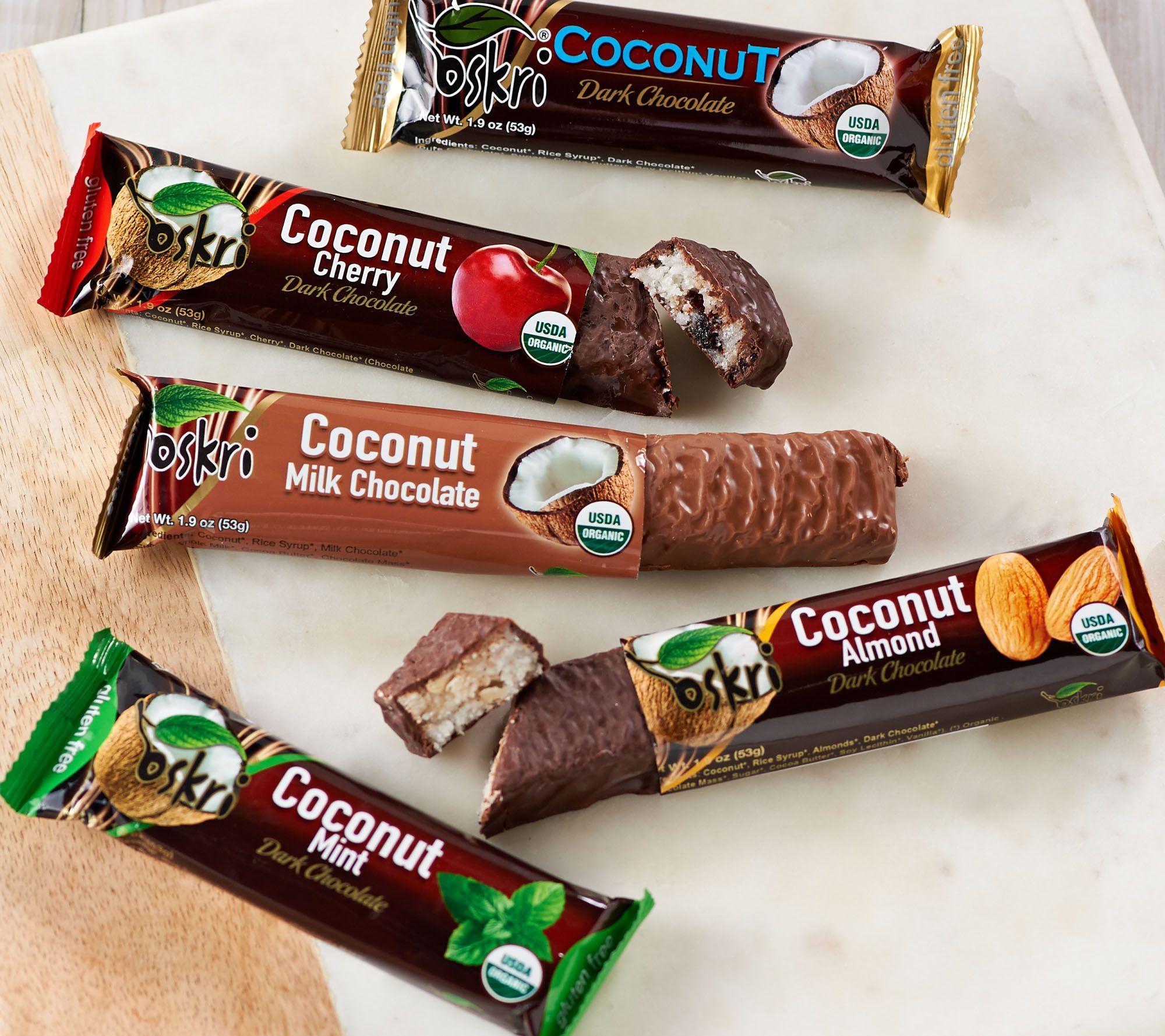 Ships 12/4 Oskri 20 Organic Choc. Covered Coconut Bar Assortment ...