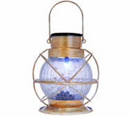 Compass Home Solar Color Changing Crackle Glass Lantern