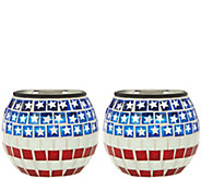 Paradise Set of 2 Solar Patriotic Tile Glass Jars - M52895