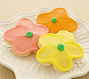 Cheryls 100pc. Buttercream Frosted FlowerCut-out cookies - M109698