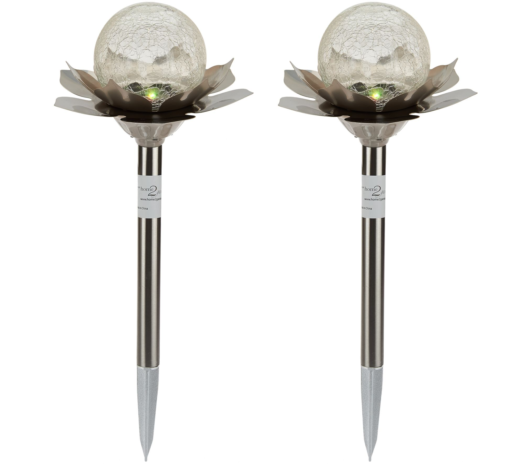 Qvc Outdoor Wall Lights: Set Of 2 Color Changing Solar Flower Stake Lights