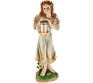 Solar Resin Angel with Firefly Jar Statue - M55999