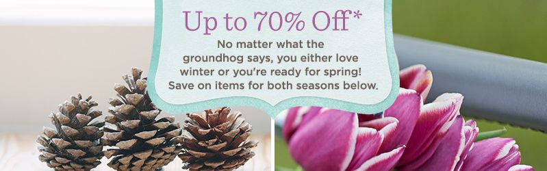 Up to 70% Off*  No matter what the groundhog says, you either love winter or you're ready for spring! Save on items for both seasons below.