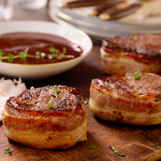 Bacon-Wrapped Beef Tenderloin with Red Wine Sauce — David Venables ...