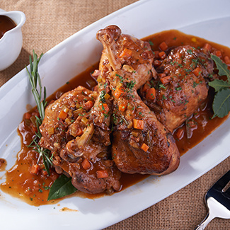 Bacon & Red Wine-Braised Turkey Legs