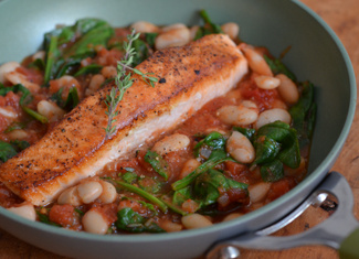 Baked Salmon with White Beans, Tomato & Spinach