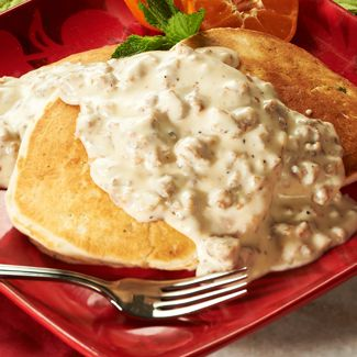Buttermilk Biscuit Pancakes with Sausage Gravy