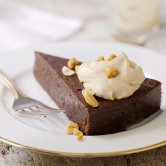 Flourless Chocolate Cake with Peanut-Butter Whipped Cream