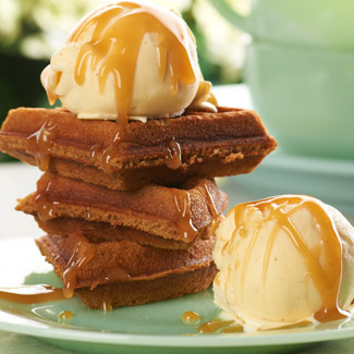 Gingerbread Waffles & Eggnog Ice Cream