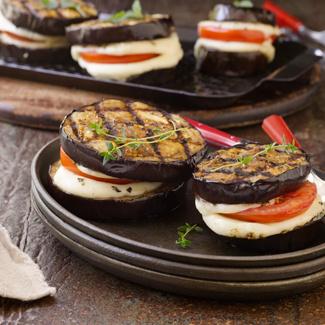 Grilled Eggplant & Tomato Bundles
