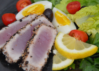 Grilled Pepper Encrusted Albacore Tuna