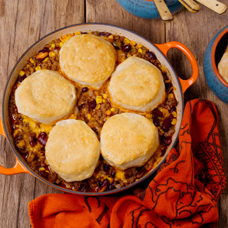 Mexican Pot Pie with Biscuit Topping