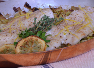 Oven-Roasted Pacific Rockfish with Leeks, Potatoes & Lemon Mayonnaise