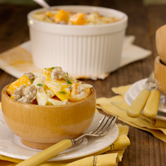 Roasted Butternut Squash and Sausage Pasta Bake