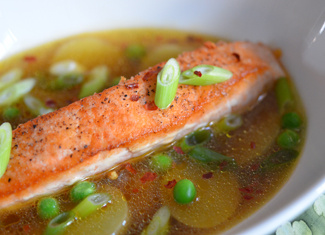 Salmon with Potatoes & Peas in a Ginger Broth