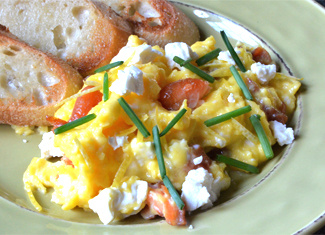 Scrambled Eggs with Honey Smoked King Salmon, Feta, Lemon & Chives