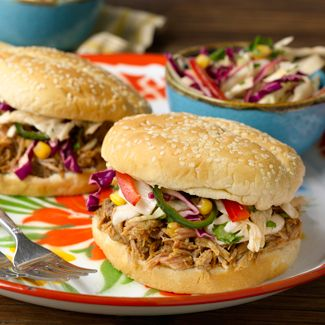 Smoked Mexican Pulled Pork Sandwiches with Cabbage Slaw
