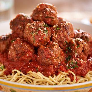 Spaghetti with Brisket Meatballs