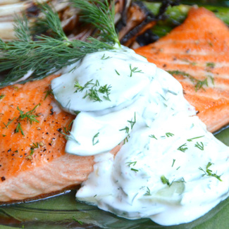 Steelhead Trout with Cucumber Yogurt Dill Sauce