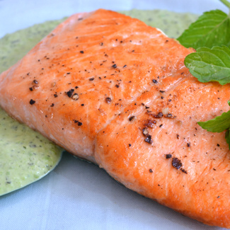 Steelhead Trout with Pea Mint Sauce