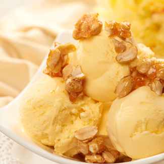 Sweet Corn Ice Cream with Salted Caramel Peanuts