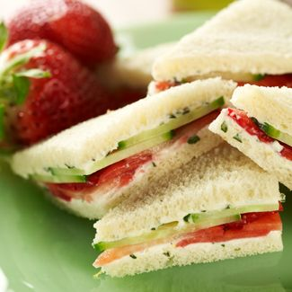 Strawberry & Basil Tea Sandwiches with Devonshire Cream