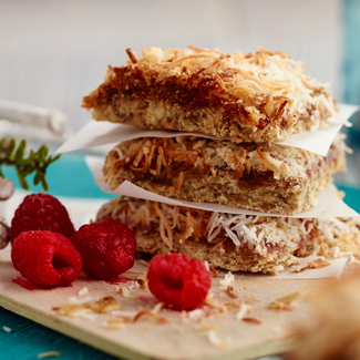 Oatmeal, Coconut & Raspberry Bars