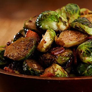 Roasted Brussels Sprouts with Bacon & Balsamic Glaze