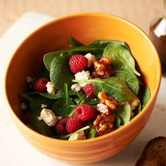 Raspberry Blue Cheese Spinach Salad