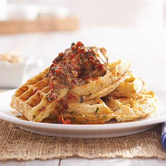 Zucchini-Cheddar Waffle with Bacon Butter