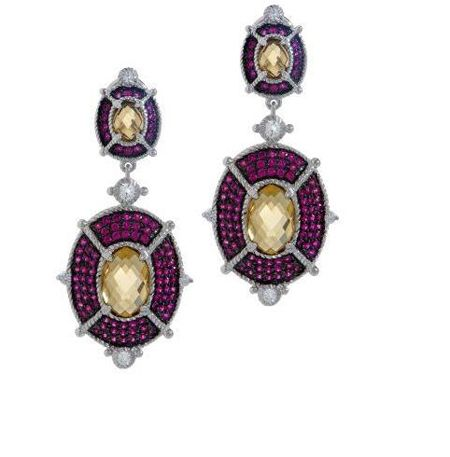 J266172-Judith Ripka Sterling 8.50ct Gemstone and Diamonique Drop Earrings