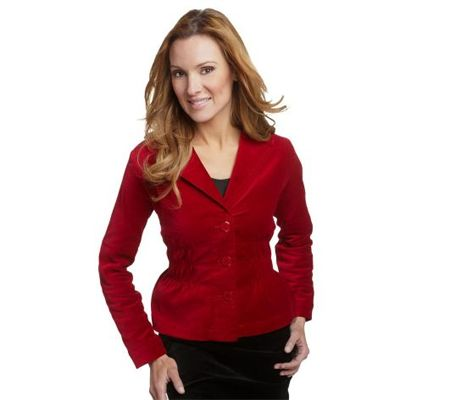 Joan Rivers Velvet Signature Jacket w/Ruching Detail
