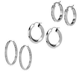 Steel by Design Set of 3 Hoop Earrings - J27402