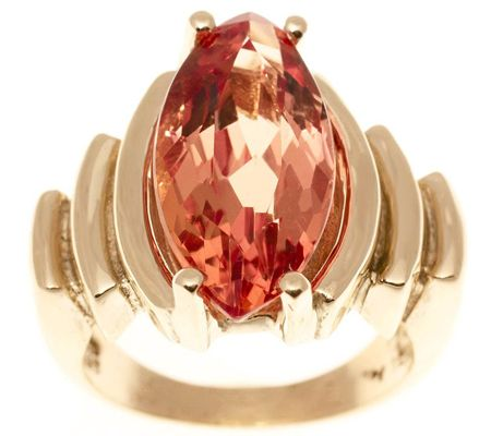 J310258-Estate Jewelry Marquise Imperial Topaz Ring 14KGold, C. 1940s