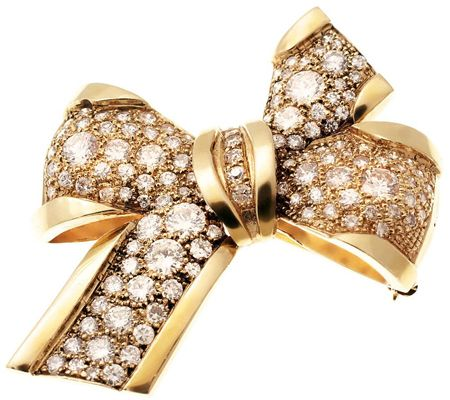 J310254-Estate Jewelry 9.00 cttw Diamond Bow Pin, 18K Gold, C. 1920s