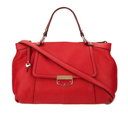 A226649 B Makowsky Leather Zip Top Convertible Satchel