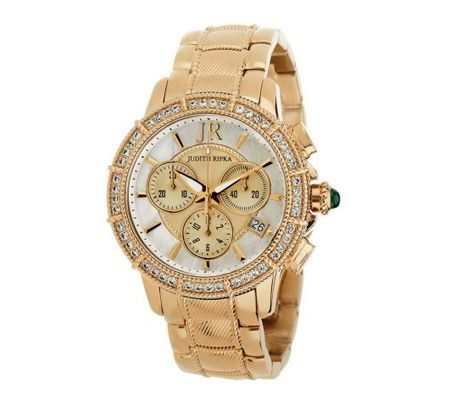 J269939 Judith Ripka Stainless Steel Chronograph Textured Watch with Diamonique