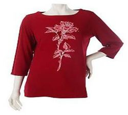 Embroidered Floral ¾ Sleeve T-Shirt