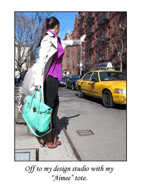 hailing a cab with my Aimee Tote