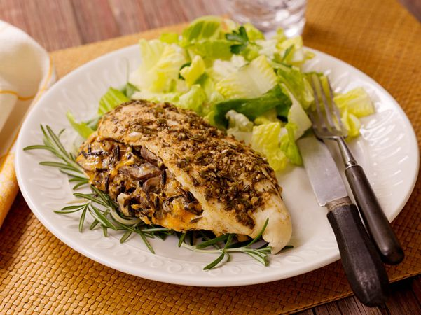 Herb-Rubbed Stuffed Chicken Breast with Rice, Cheddar & Mushrooms