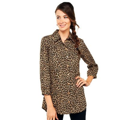 Joan Rivers Animal Print Boyfriend Shirt