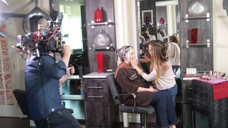 Mally doing makeup for beauty with benefits