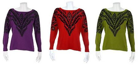 Bob Mackie's Renaissance Print Pullover with Sequin Detail