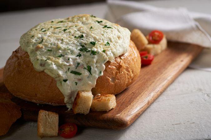 Clam Dip in a Bread Bowl
