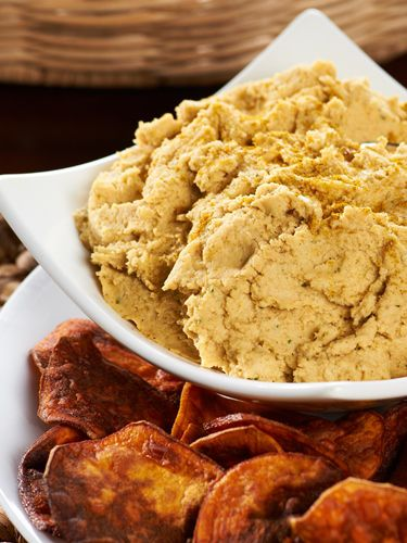 Garlic-Curry Hummus & Sweet Potato Chips