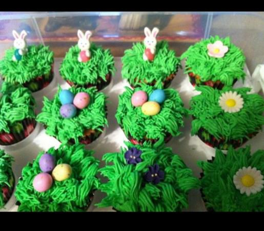 Easter Grass Cupcakes by Katie R