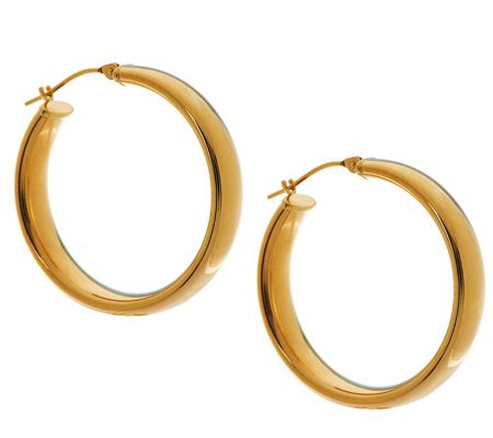 J264025-EternaGold Bold Polished Hoop Earrings 14K Gold