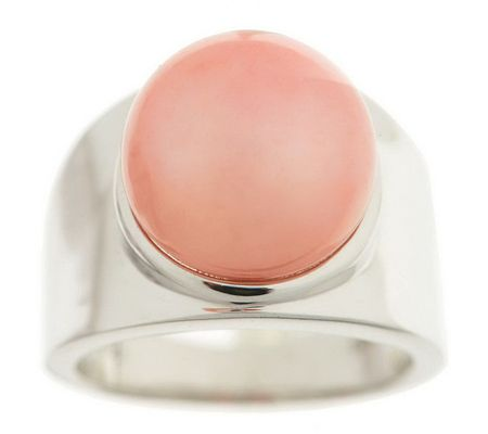 J264659-Honora Cultured Pearl 12mm Button Sterling Band Ring
