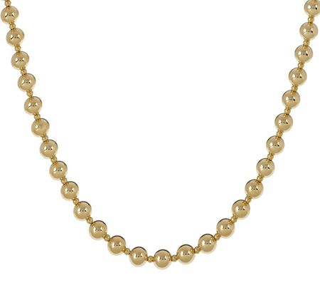 "j265273-EternaGold 18"" Polished Bead Necklace 14K Gold, 7.1g"