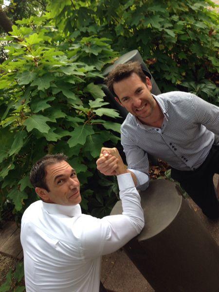 Steve & Liam arm wrestling